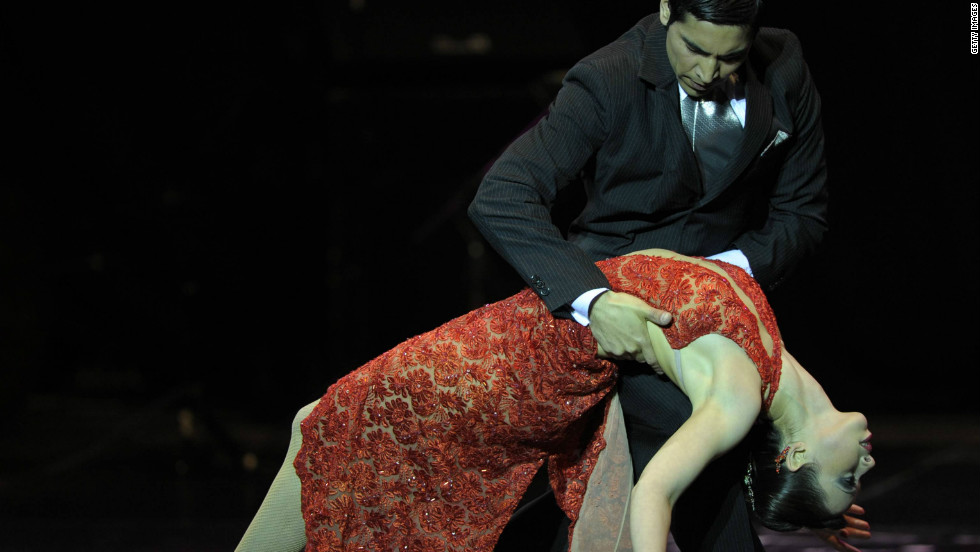In this picture, Uruguayan couple Jose Salvo and Maria Sciuto dance at the Tango Dance World Championship in Buenos Aires, 2011.