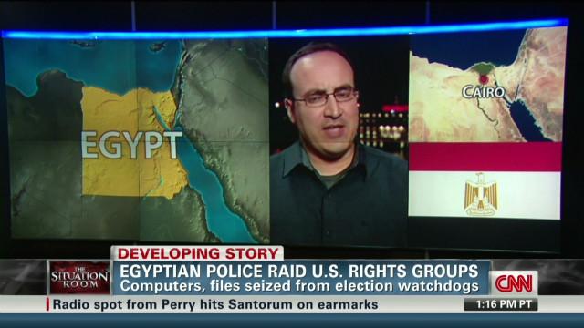 Egyptian police raid U.S. rights groups