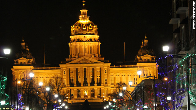 The Capitol building lights up for the holidays in Des Moines, Iowa.