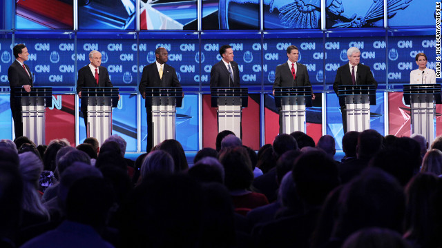 The Republican candidates face off in a debate in October.