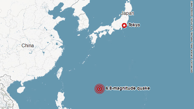 A magnitude 6.8 earthquake hit 468 kilometers (302 miles) south-southwest of Tokyo on Sunday.