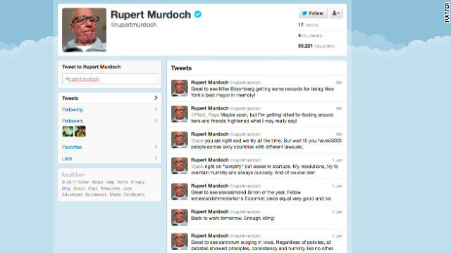 Media mogul Rupert Murdoch has followed four users since joining Twitter this weekend -- and one's a fake.