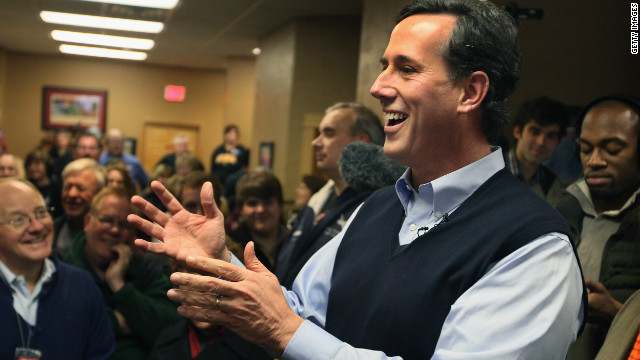 Former Senator Rick Santorum, at a campaign stop in Sioux City, Iowa., has moved up rapidly in the closely contested Iowa polls.
