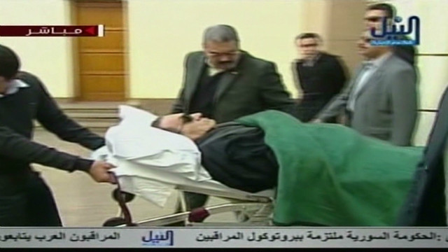 Mubarak arrives for trial