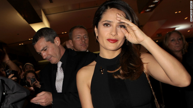 Salma Hayek and Antonio Banderas pictured at the 'Puss in Boots'  premiere at the UCI Cinema on November 25, 2011 in Rome