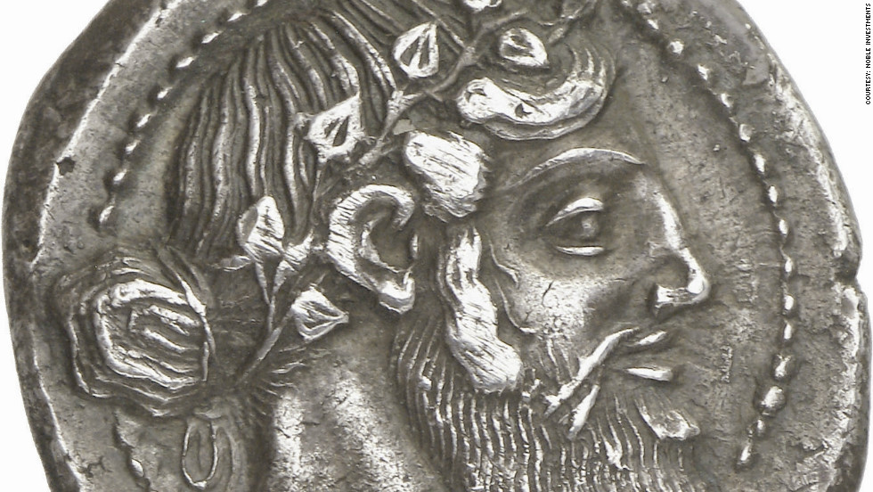 The collection includes coins, such as this silver Tetradrachm, featuring the head of Dionysos, which are of artistic significance.