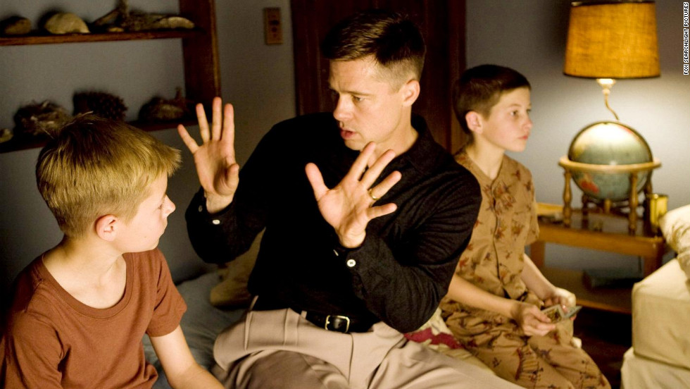 "Pitt portrays a strict father, Mr. O'Brien, in the 2011 Terrence Malick film ""The Tree of Life."""