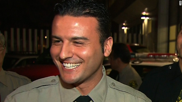 Reserve officer Shervin Lalezary arrested the Los Angeles arson suspect on Monday.