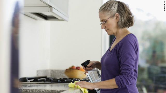 Replace the cleaning sponge in your kitchen every few weeks to avoid spreading bacteria.