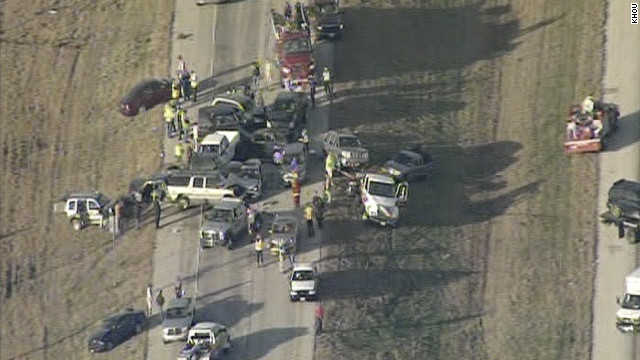 Authorities said poor visibility caused by fog and smoke caused a multi-car pileup near Port Arthur, Texas, on Thursday.
