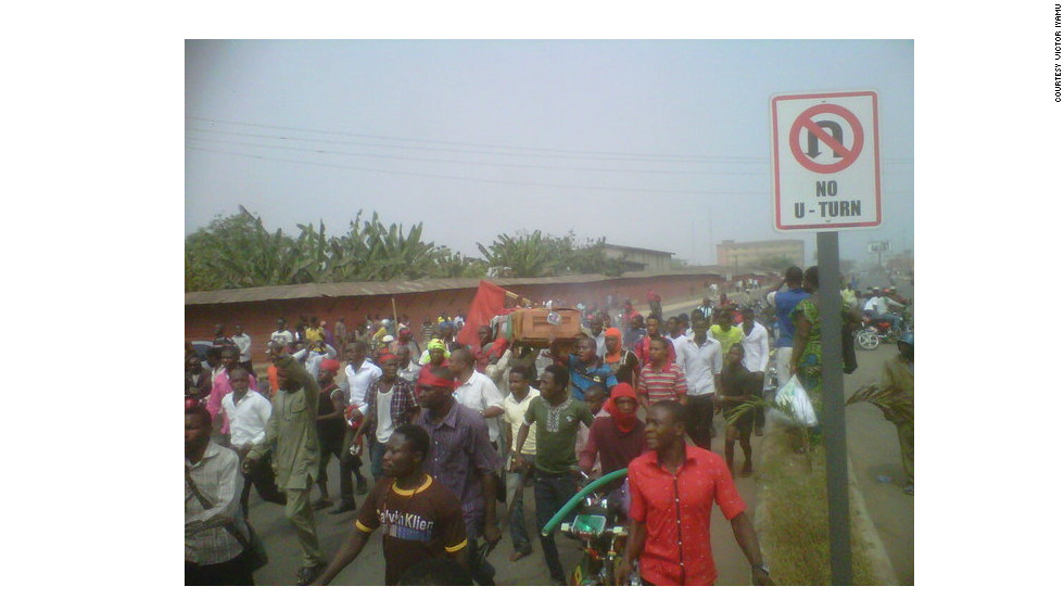 iReporter Victor Iyamu took this photo at the protest in Benin City, the capital of Edo State, on Thursday, January 5. Iyamu says he is not participating in the protest but that he does support the protesters and their cause.