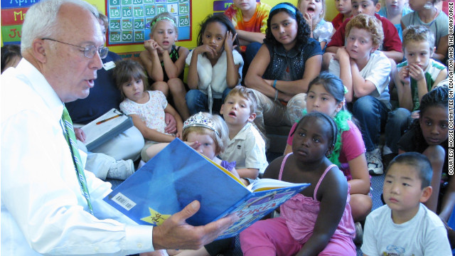 Minnesota Rep. John Kline, chairman of the House Committee on Education and the Workforce, reads to a Kindercare class  in Burnsville in August, 2010.