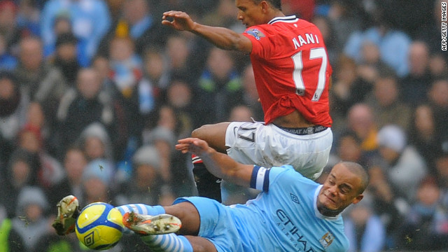 Manchester City captain Vincent Kompany was sent off for this tackle on Manchester United's Nani on Sunday.