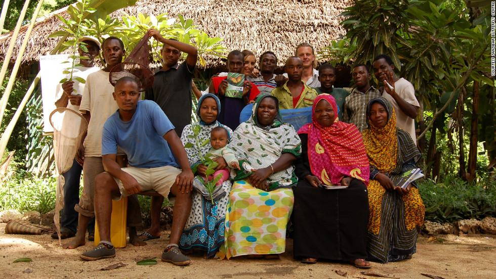Farmers and staff at the Zanzibar Butterfly Centre, near Jozani-Chawka Bay National Park on Unguja Island.
