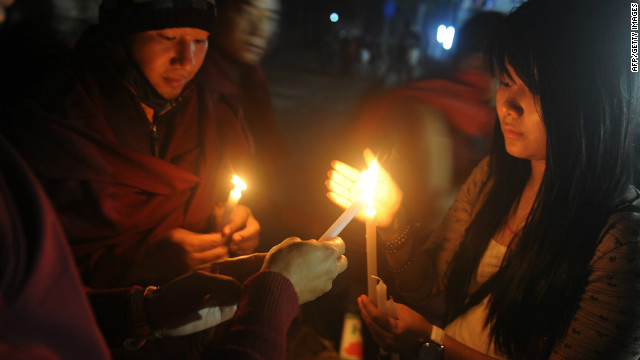 A candle vigil in memory of the recent self immolation cases during the Kalachakra Festival in Bodhgaya, India on January 8.