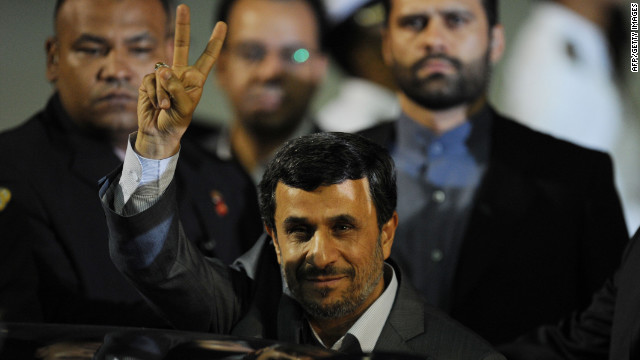 Iranian President Mahmoud Ahmadinejad arrives in Caracas, Venezuela, on Sunday.
