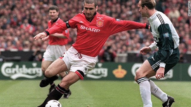 Manchester United's Eric Cantona in a match against Liverpool in 1996.
