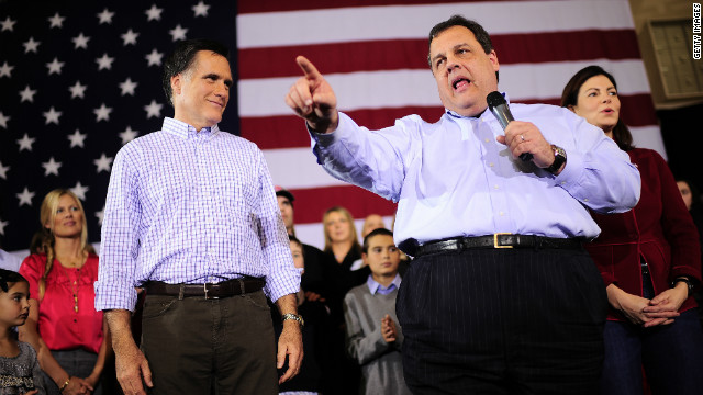 Mitt Romney, left, has received the most backing from party insiders, including New Jersey Gov. Chris Christie.