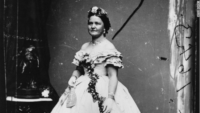 Mary Todd Lincoln, wife of Abraham Lincoln, the 16th President of the United States, dressed for his inauguration.