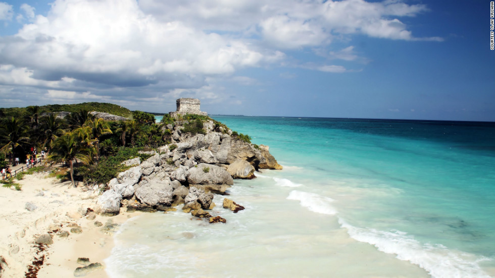 "Vijay Krishna captured this view of ""Mayan ruins along the blue ocean shores"" of Tulum. ""I would love to go there again for another relaxing vacation. The sea is absolutely stunning."""