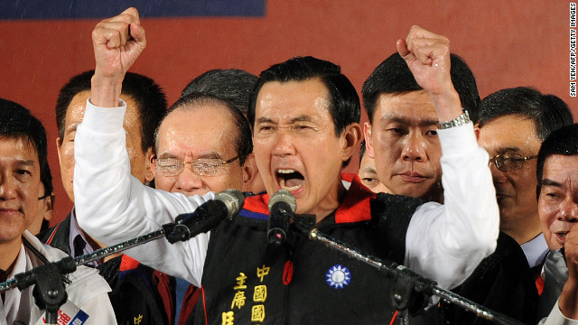 Ma Ying-jeou gestures to supporters outside the campaign headquarter in Taipei, Taiwan on January 14.