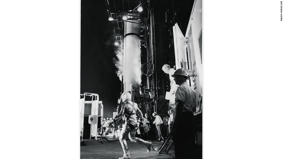 Astronaut Alan Shepard runs toward Redstone rocket in 1961.