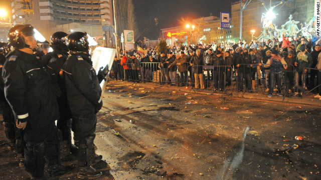 Romanian police take position in the center of Bucharest on January 15, 2012 during a demonstration against the government's austerity program and Romanian President Traian Basescu.