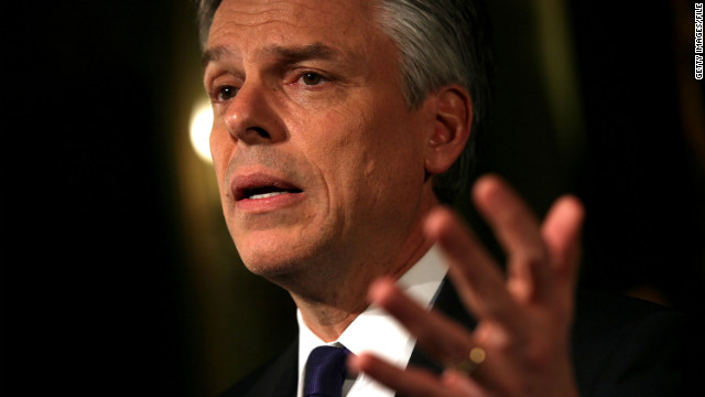 Jon Huntsman speaks to supporters during a primary night rally in New Hampshire on January 10.