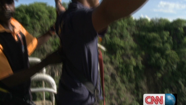 Bungee jumping over the Zambezi River
