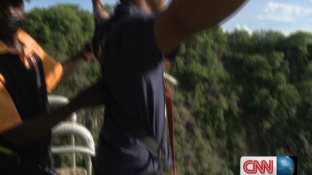 Bungee jumping over the Zambezi River