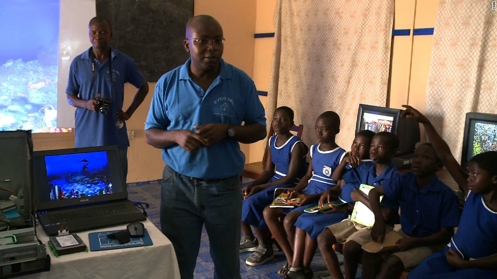 The charity donates reconditioned old computers from the developed world and ships them to Africa.