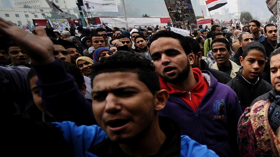 Egyptian protesters chant slogans during a demonstration in Cairo's Tahrir Square in December.