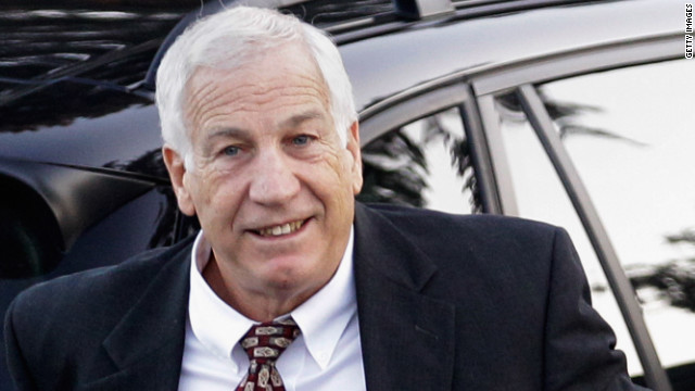 Jerry Sandusky arrives at the Centre County Courthouse on December 13, 2011, in Bellefonte, Pennsylvania.