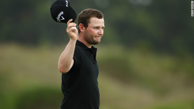 Branden Grace powered to the top of the leaderboard at the halfway stage of the Volvo Golf Champions tournament in South Africa.