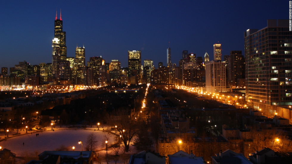 Matthew Regan lives in Chicago and captured this view, looking north from the southern part of the city,  from his balcony on a cold winter's night.