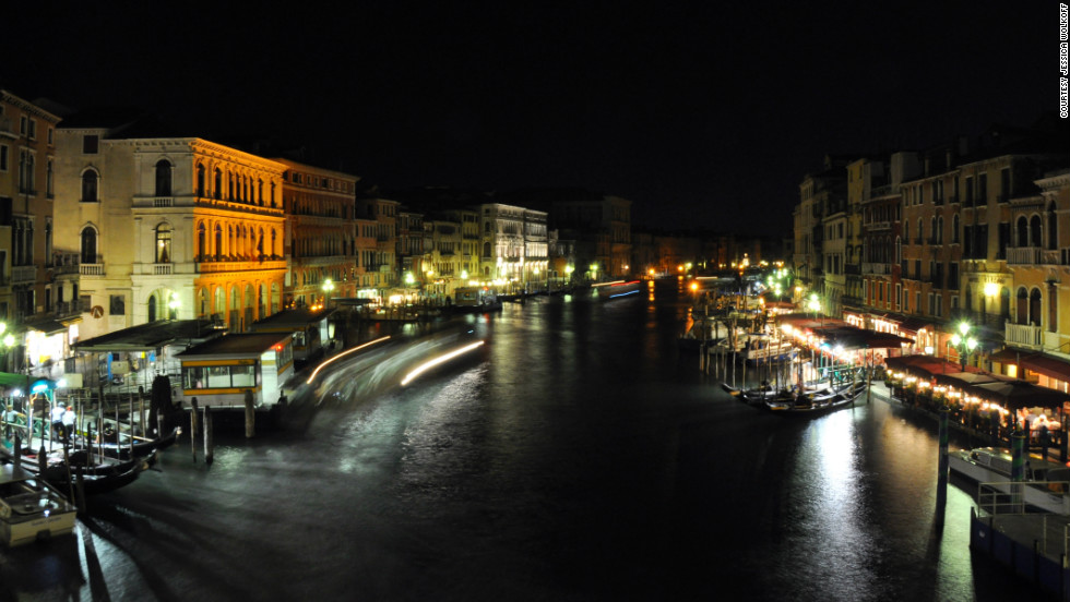 """Jessica Wolkoff took this photo from the Rialto Bridge, overlooking the Grand Canal in Venice. """"The city is up early and out late. Nature is architecture here, and the weathering of buildings shows a thousand years of history."""""""