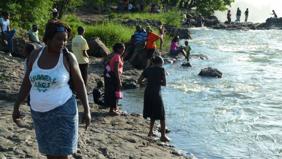 Zambians along the banks of the Zambezi River.