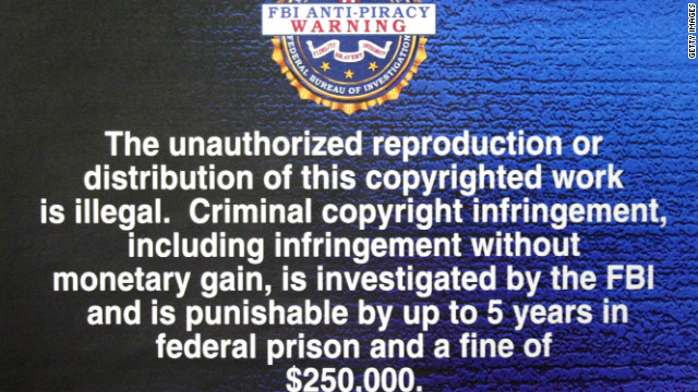 A FBI anti-piracy warning text.