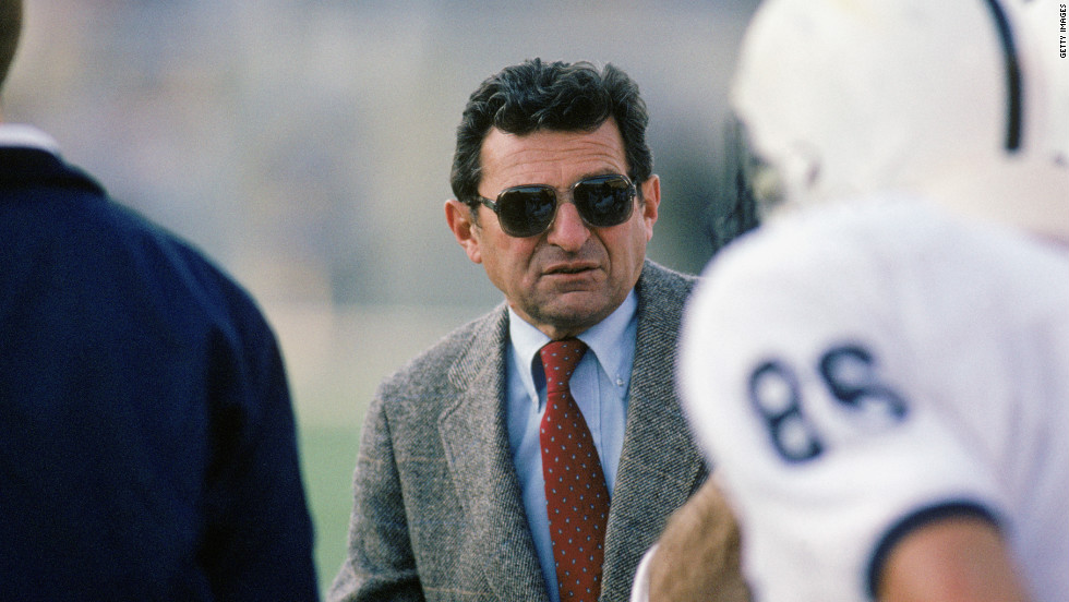 Former Penn State football coach Joe Paterno died on January 22. He was 85. The legendary coach, seen here in 1988, was fired in November 2011 during his 46th season at the helm of the Nittany Lions program.