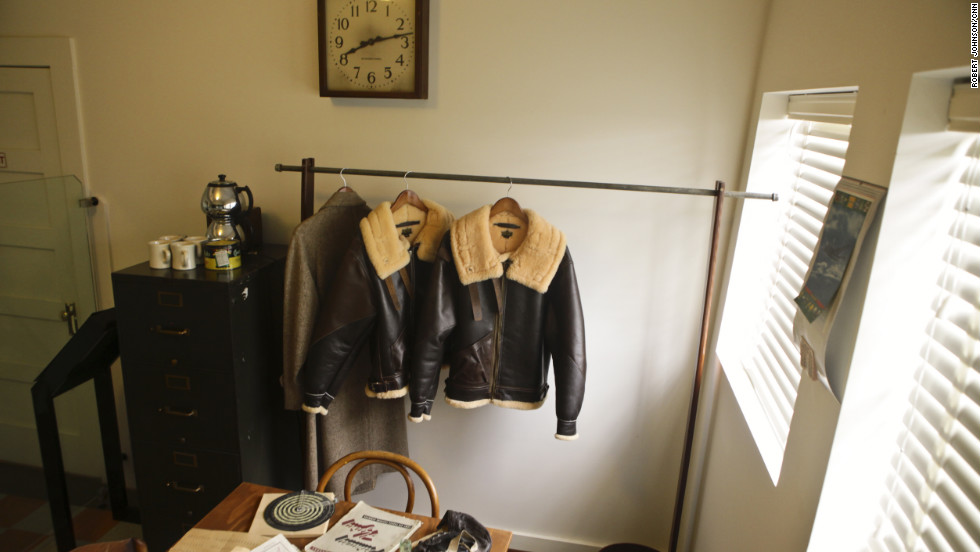 Flight jackets hang in an office restored to the way it looked in the 1940s. Pilots were trained in Tuskegee from 1941 to 1946.