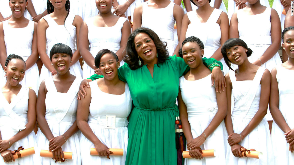 Oprah Winfrey flew to South Africa to attend the first graduation ceremony at her all-girls academy on January 14 2012.
