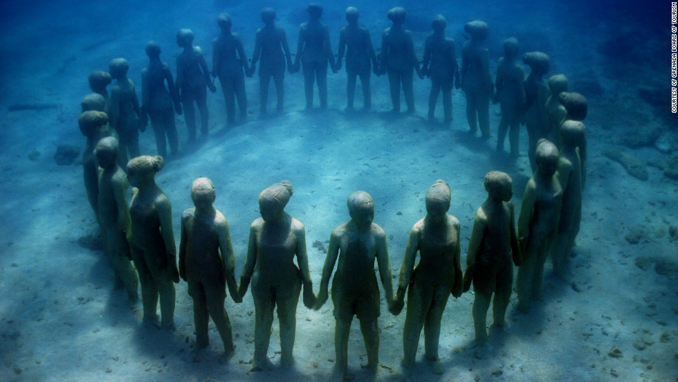 The underwater sculpture park is one of many interesting dive sites Grenada has to offer.