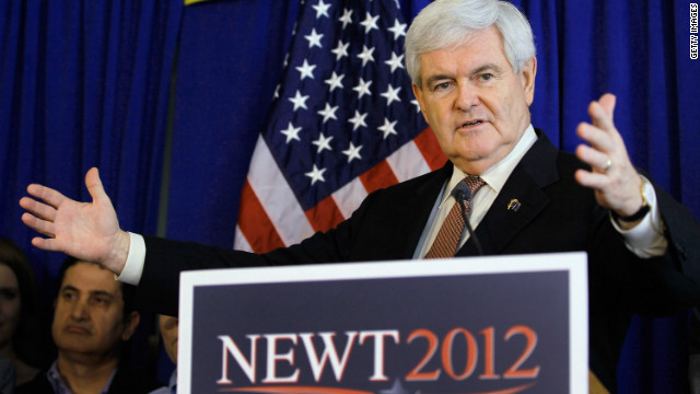 Republican presidential candidate and former Speaker of the House Newt Gingrich speaks during a campaign event at Tick Tock Restaurant on January 24, 2012 in Tampa, Fl.orida.