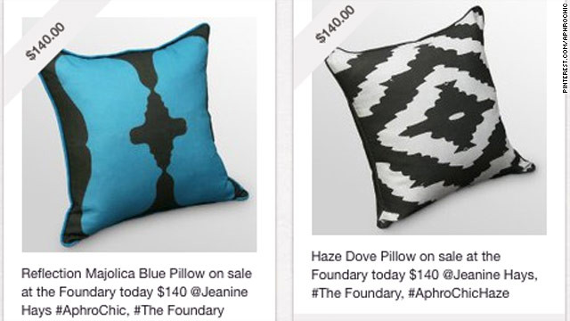 Some of Jeanine Hays' pins of products from her company, AphroChic on Pinterest.