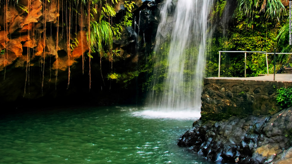 Grenada's interior is very mountainous with several rivers, beautiful waterfalls flow into the sea from these mountains.