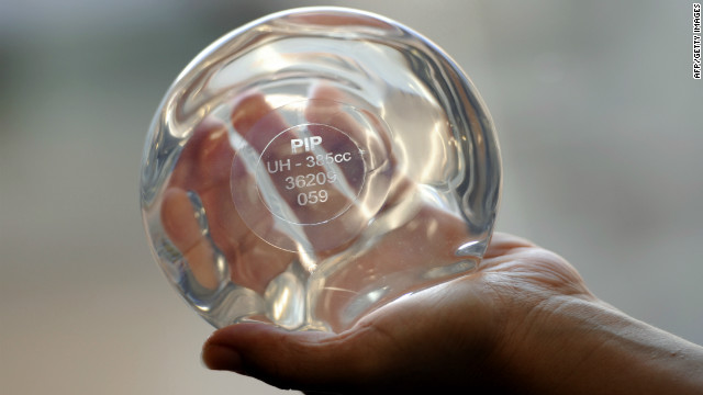 A file picture taken on January 3, 2012 in Marseille, southeastern France, shows a breast implant produced by the implant manufacturer Poly Implant Prothese company (PIP) with PIP identity card.
