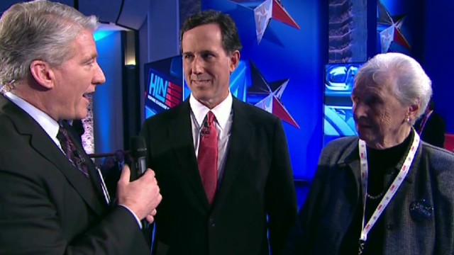 Santorum appears with mom after debate