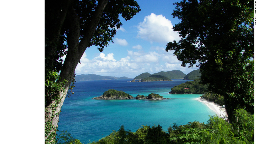 "Joan Dedmon captured this serene view of Trunk Bay during a trip with her daughter. ""We found ourselves speechless with the beauty of the view of St. John Island in the distance. The jaw dropping views were non-stop throughout our adventures around the islands."""