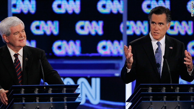 Mitt Romney makes a point at Thursday night's CNN/Republican Party of Florida debate