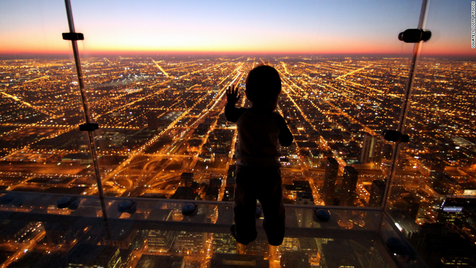 Chicago's Skydeck looks down from the 99th floor of the Willis Tower, attracting more than 1.5 million visitors each year.